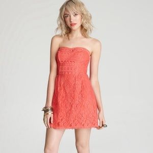 Free People Dress Heart Pink Lace Strapless Mini